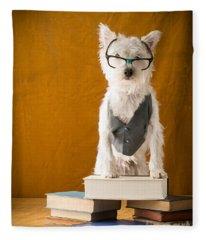 Bookish Dog Fleece Blanket
