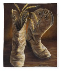 Boots And Wheat Fleece Blanket