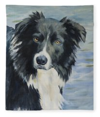 Border Collie Portrait Fleece Blanket