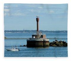 Boston Harbor Lighthouse Fleece Blanket