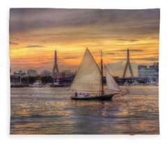 Boston Harbor Sunset Sail Fleece Blanket