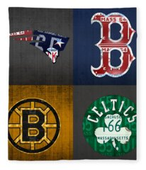 Boston Sports Fan Recycled Vintage Massachusetts License Plate Art Patriots Red Sox Bruins Celtics Fleece Blanket