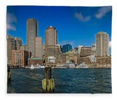 Boston Waterfront Skyline Fleece Blanket