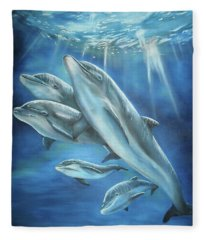 Bottlenose Dolphins Fleece Blanket