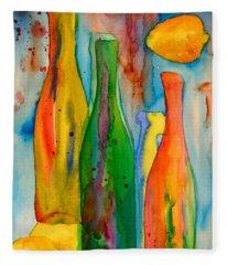 Bottles And Lemons Fleece Blanket