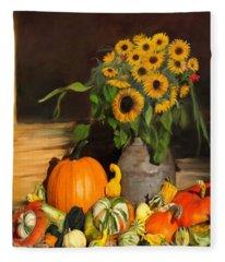Bountiful Harvest - Floral Painting Fleece Blanket