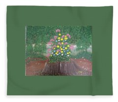 Bouquet On A Stump Fleece Blanket