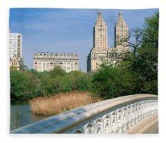 Bow Bridge, Central Park, Nyc, New York Fleece Blanket