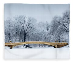 Bow Bridge In Central Park Nyc Fleece Blanket