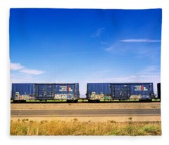 Boxcars Railroad Ca Fleece Blanket