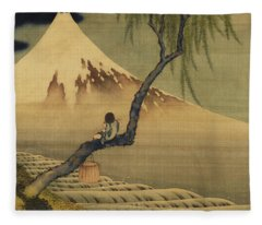 Boy Viewing Mount Fuji Fleece Blanket