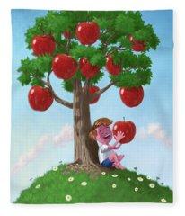 Boy With Apple Tree Fleece Blanket