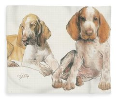 Fleece Blanket featuring the mixed media Bracco Italiano Puppies by Barbara Keith