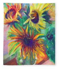 Brandy's Sunflowers - Still Life On Windowsill Fleece Blanket
