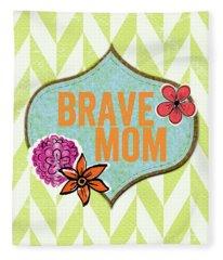 Brave Mom With Flowers Fleece Blanket