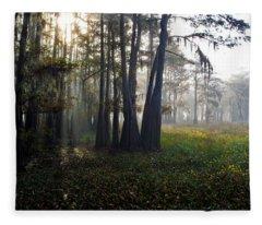 Breaking Through Morning Fog Fleece Blanket