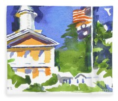 Breezy Morning At The Courthouse Fleece Blanket