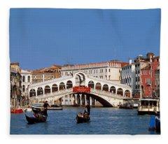 Bridge Across A Canal, Rialto Bridge Fleece Blanket