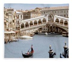 Bridge Over A Canal, Rialto Bridge Fleece Blanket
