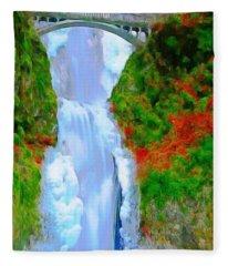 Bridge Over Beautiful Water Fleece Blanket