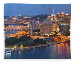 Bridge To The Pittsburgh Skyline Fleece Blanket