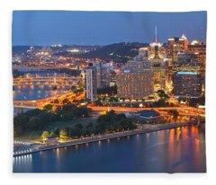 Bridge To The Pittsburgh Skyline Fleece Blanket
