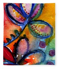 Bright Abstract Flowers Fleece Blanket