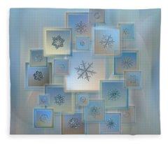 Snowflake Collage - Bright Crystals 2012-2014 Fleece Blanket