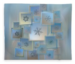 Snowflake Collage - Bright Crystals 2012-2014 Fleece Blanket