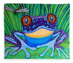Bright Eyed Frog Fleece Blanket