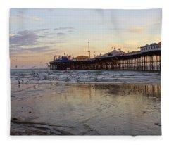 Brighton Beach Sunset Fleece Blanket