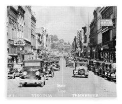 Bristol Virginia Tennessee State Street 1931 Fleece Blanket
