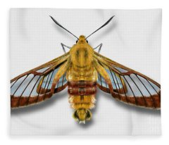 Broad-bordered Bee Hawk Moth Butterfly - Hemaris Fuciformis Naturalistic Painting -nettersheim Eifel Fleece Blanket