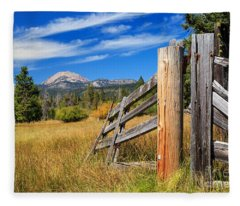 Broken Fence And Mount Lassen Fleece Blanket