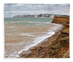 Brook Bay And Chalk Cliffs Fleece Blanket