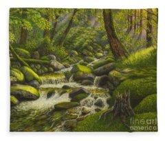Brook In The Forest Fleece Blanket