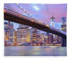 Brooklyn Bridge And New York City Skyscrapers Fleece Blanket