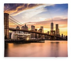 Brooklyn Bridge At Sunset  Fleece Blanket