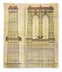 Brooklyn Bridge Tower One Plans Fleece Blanket