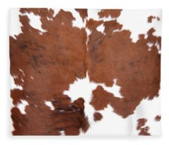 Brown Cowhide Fleece Blanket