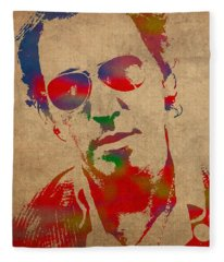 Bruce Springsteen Watercolor Portrait On Worn Distressed Canvas Fleece Blanket