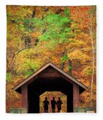 Brush Creek Covered Bridge Fleece Blanket