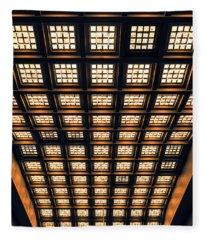 Brussels Gare Central Ceiling Fleece Blanket