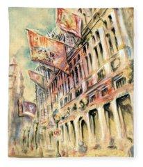 Brussels Grand Place - Watercolor Fleece Blanket