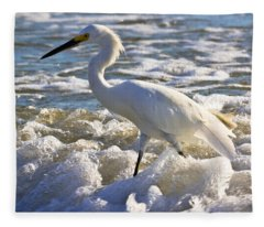 Bubbles Around Snowy Egret Fleece Blanket