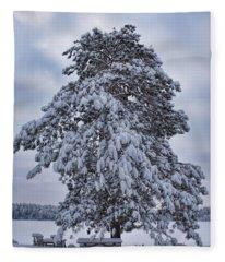 Buck Lake Flocked Pine Fleece Blanket