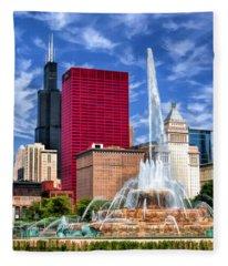 Buckingham Fountain Sears Tower Fleece Blanket