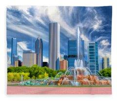 Buckingham Fountain Skyscrapers Fleece Blanket