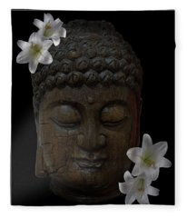 Buddha Adorned With Asian Lilies Fleece Blanket