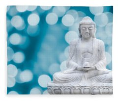 Buddha Enlightenment Blue Fleece Blanket